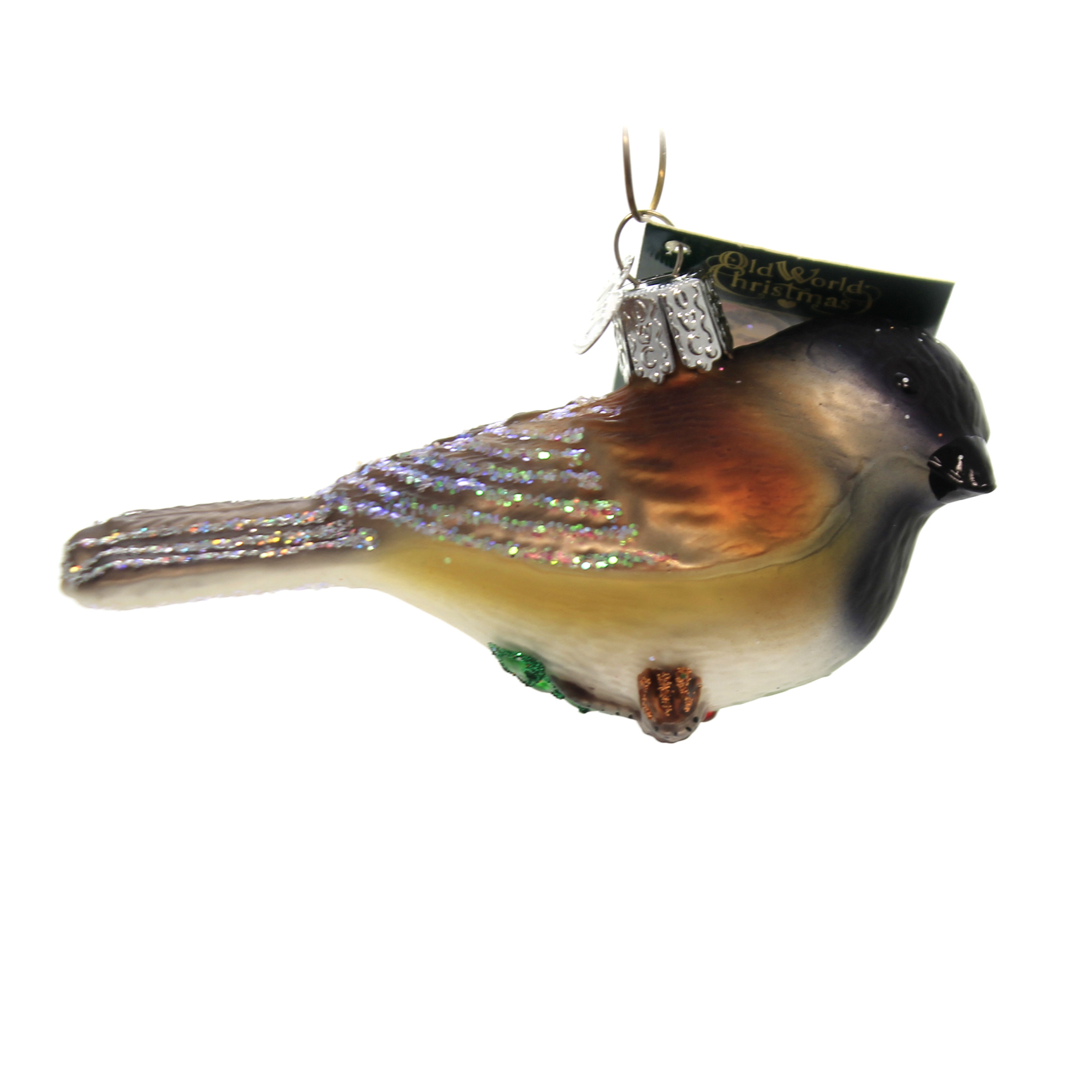 CHEERY CHICKADEE OLD WORLD CHRISTMAS GLASS CLIP ON BIRD ORNAMENT NWT 18068
